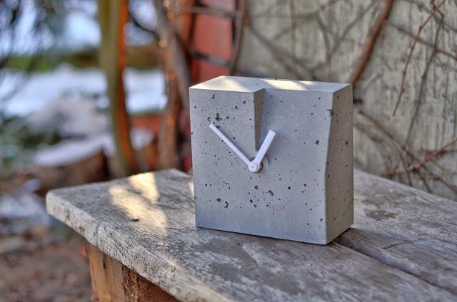 Zegar betonowy - szary, prosty, nowoczesny, Niczego Sobie