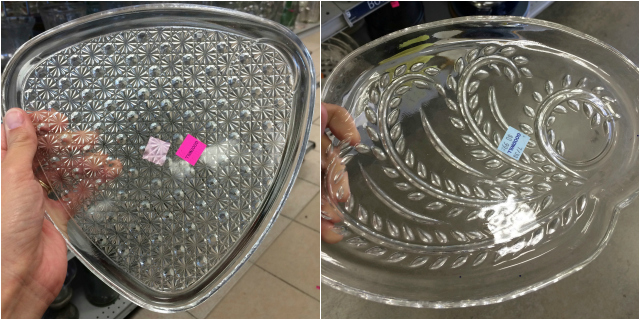 Give retro thrift store dishes a modern makeover with metallic paint! || www.designimprovised.com
