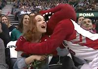 Rachel McAdams greeted by Toronto Raptor mascot