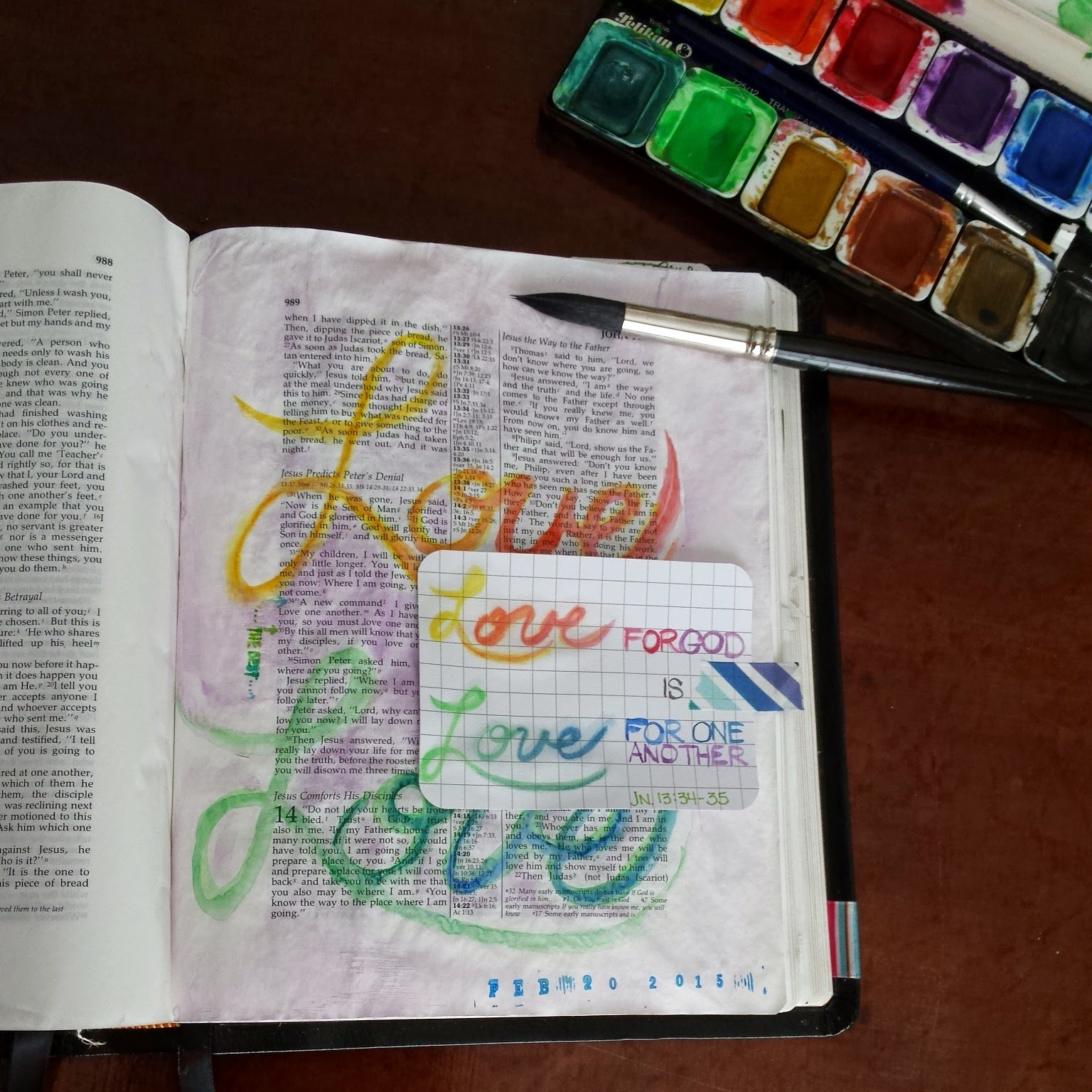 Journaling Bible page inspired by John 13:34-35;  love one another