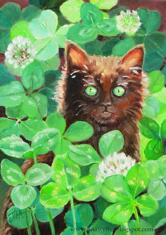 """Lucky"" 7""x 5"" oil on gessobord ©2015 Tina M Welter- Black kitten sitting in a field of clovers"