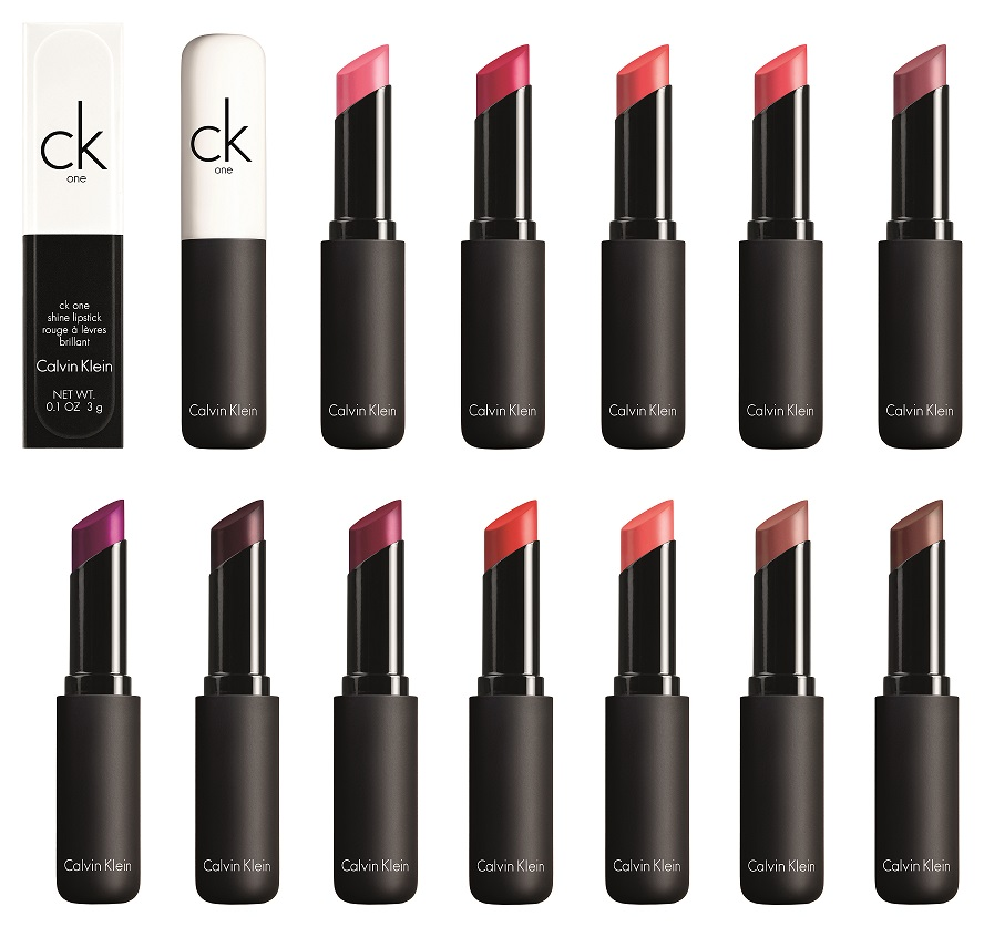 12 cores dos CK One Color Shine Lipsticks
