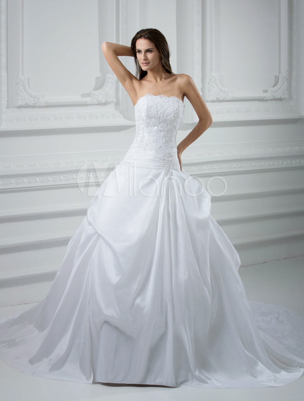 China Wholesale Dresses - Gorgeous A-line Strapless Beading Pongee Wedding Dress