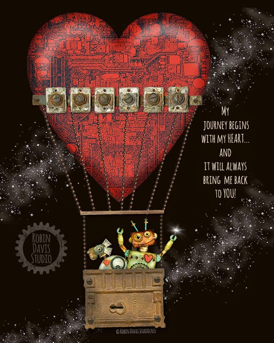 Hot air balloon RED HEART - Robin Davis Studio