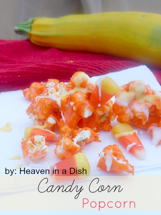 Candy Corn Popcorn by heaveninadish.com -an easy fall version of caramel corn