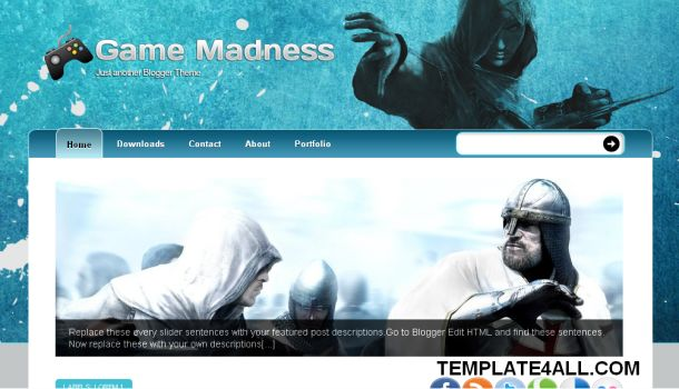 Free Blue Games Madness Blogger Template