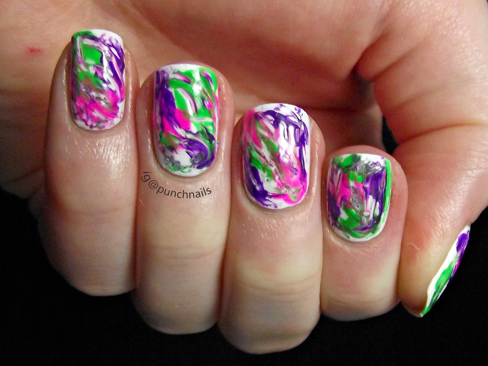 Punch Nails Neon Dry Marble Nail Art