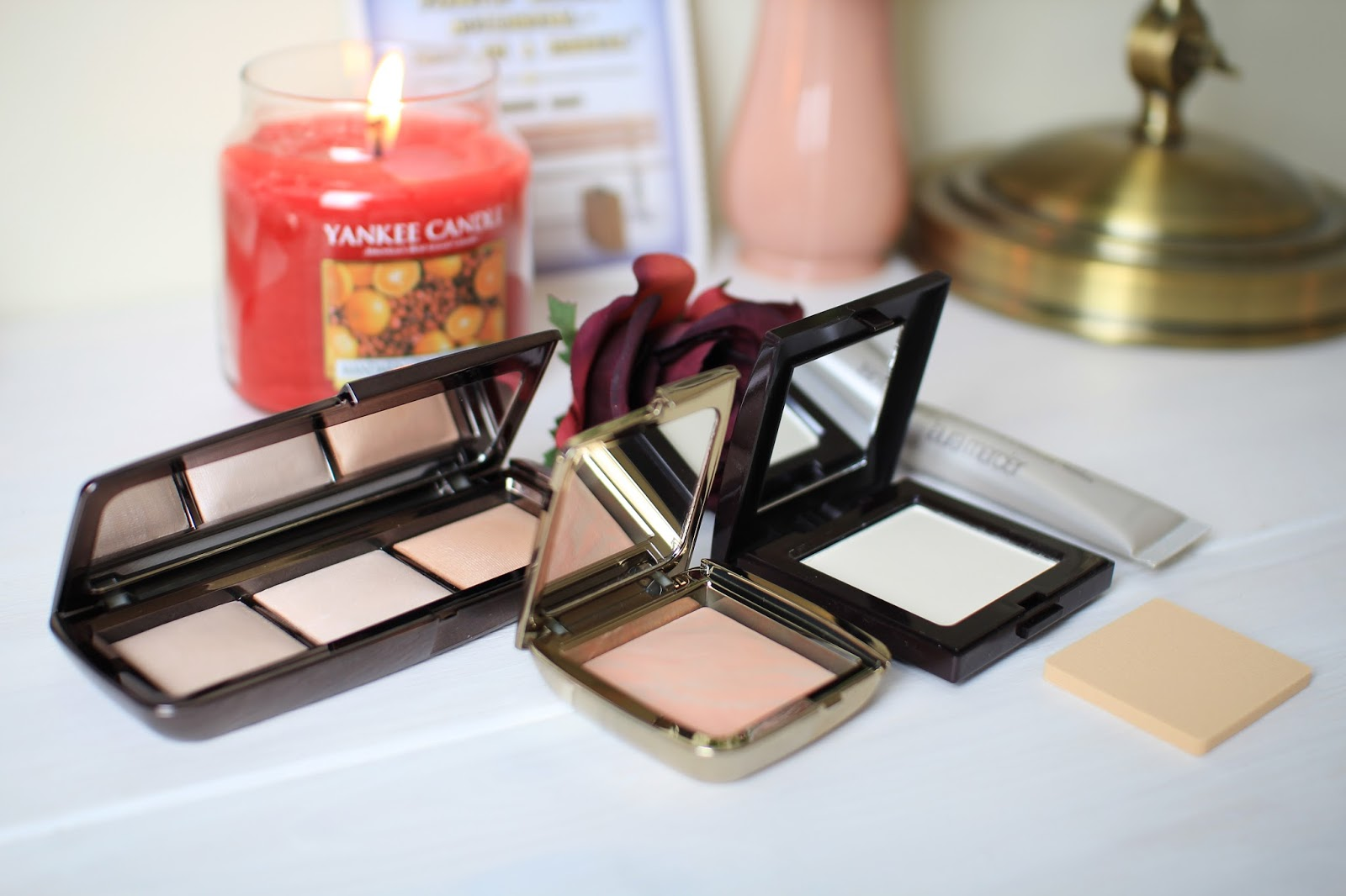 The Hourglass Ambient Lighting Palette, Dim Infusion Blush and Laura Mercier Pressed Powder