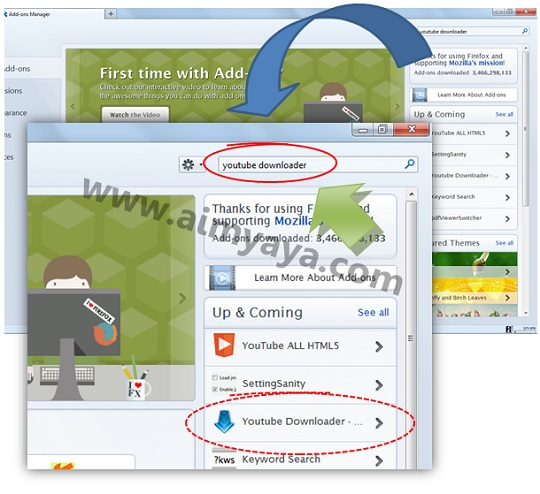 Gambar: Contoh cara add-ons untuk download video youtube di Mozilla Firefox
