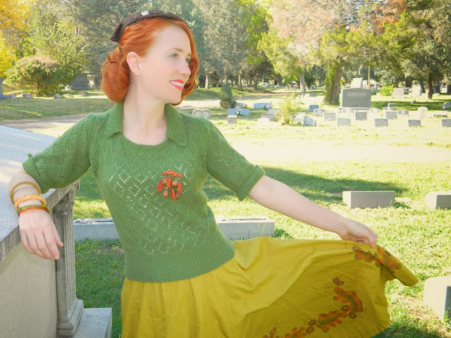 1940's 1950's skirt autumn fall color Just Peachy, Darling
