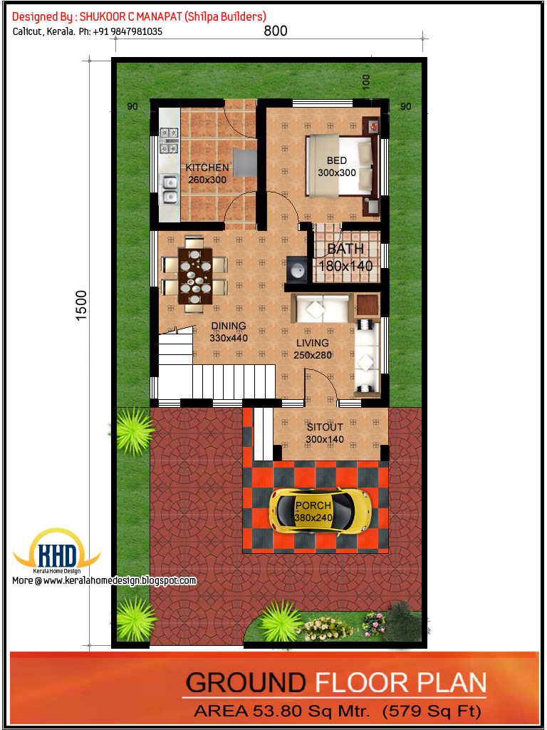 Ground floor plan - 1062 Sq.Ft. 3 bedroom low budget house