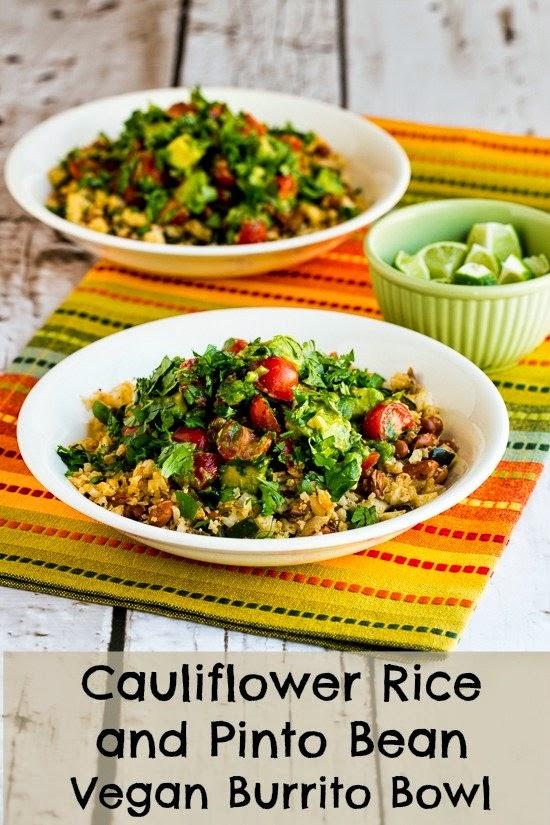 Cauliflower Rice and Pinto Bean Vegan Burrito Bowl found on KalynsKitchen.com