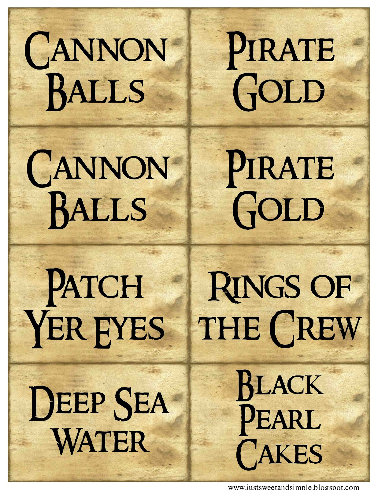 Pirate party freebies