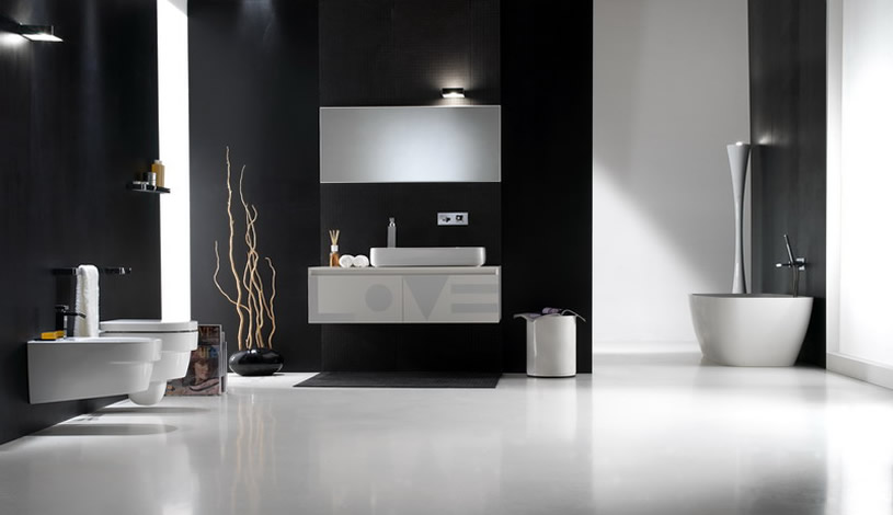 black and white bathroom. Black will absorb light, whilst white