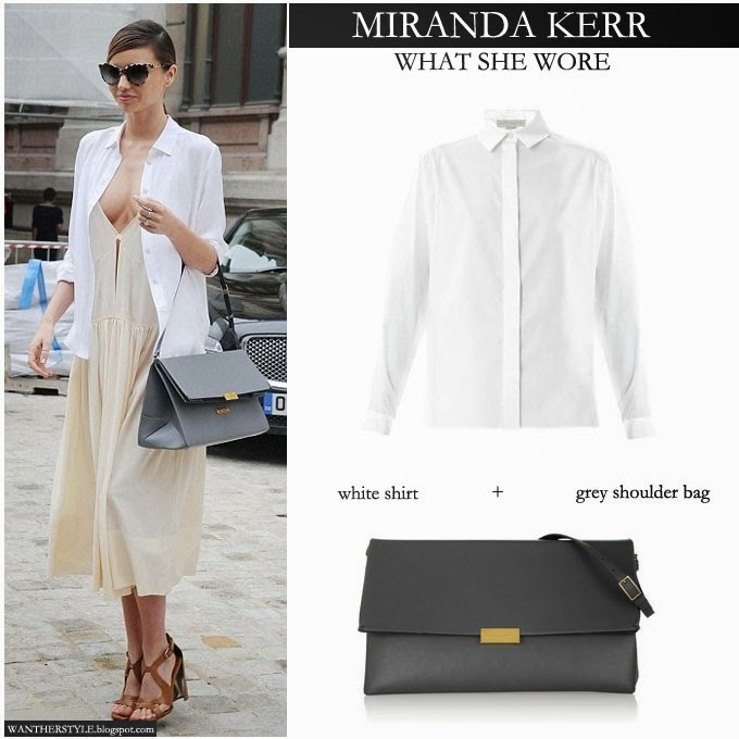 ... what she wore · No comments · Miranda Kerr in Stella McCartney white  shirt with beige long dress and grey shoulder bag - ec2883cefb3