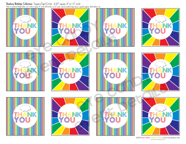thank you tags, thank you toppers, rainbow party, girls birthday party idea