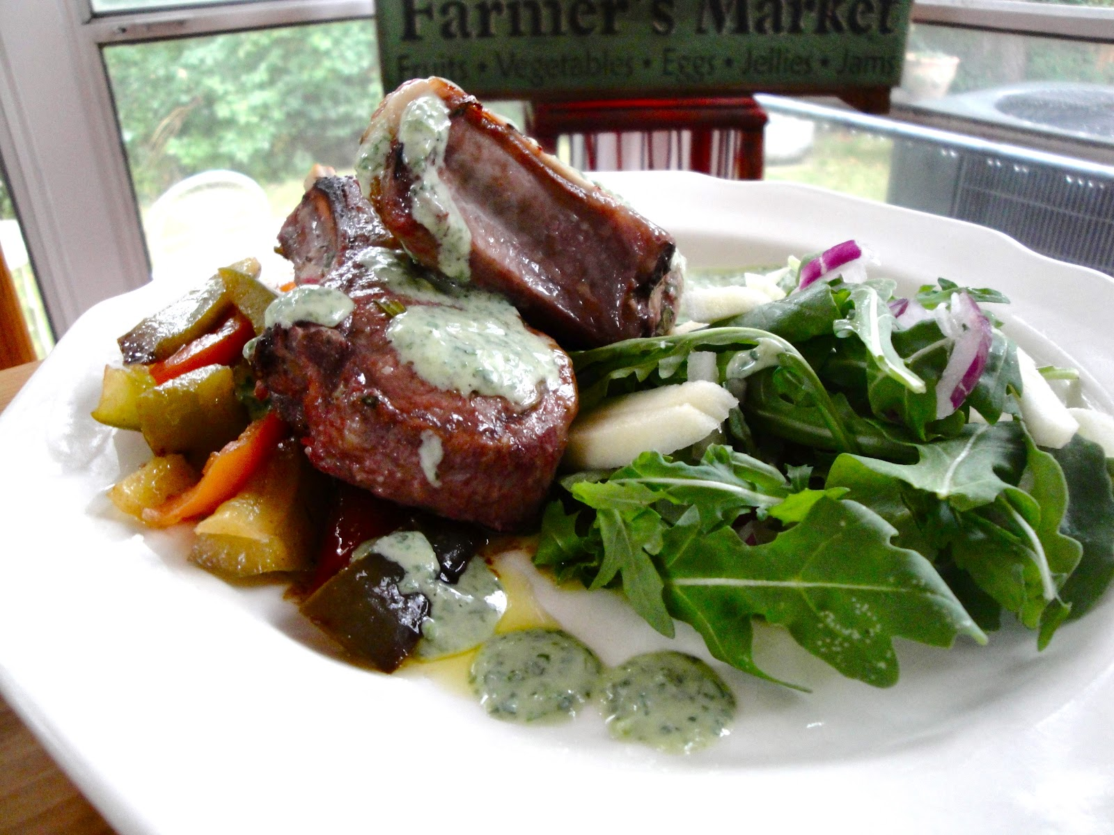 Rachael's Dinner Table: Roasted Lamb Chops with Peppers & Herb Yogurt