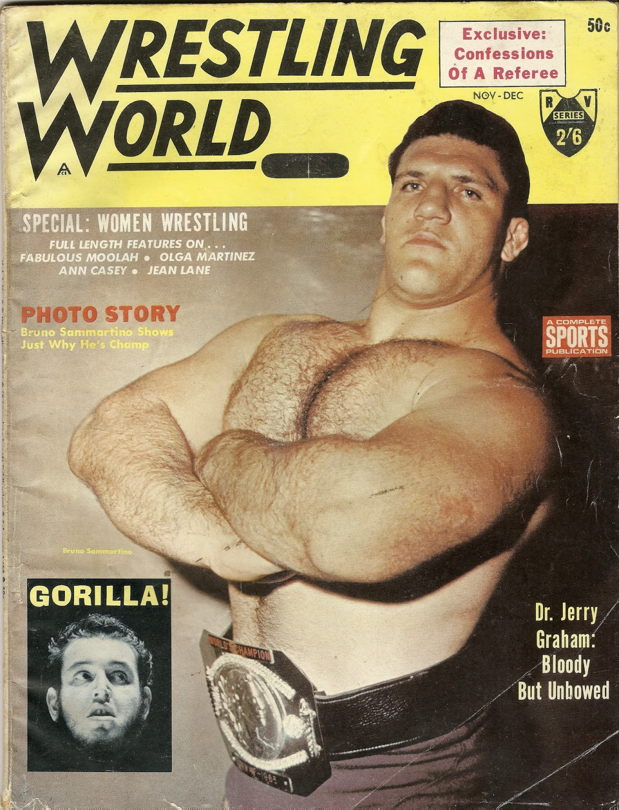 Bruno Sammartino Wrestling mag cover.