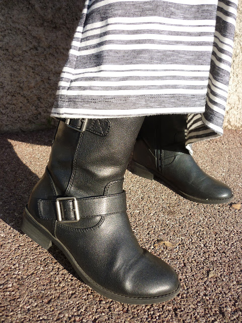 Grey striped Maxi Skirt, Marks & Spencer Biker Boots | Petite Silver Vixen