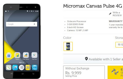 Micromax Canvas Pulse 4G specifications and price India, Buy online Micromax Canvas Pulse 4G flipkart, snapdeal Micromax Canvas Pulse 4G  Amazon Shopping online,offers on Micromax Canvas Pulse 4G flipkart discounts,buy Micromax phones Rs.9000, Rs.8000 below 10000