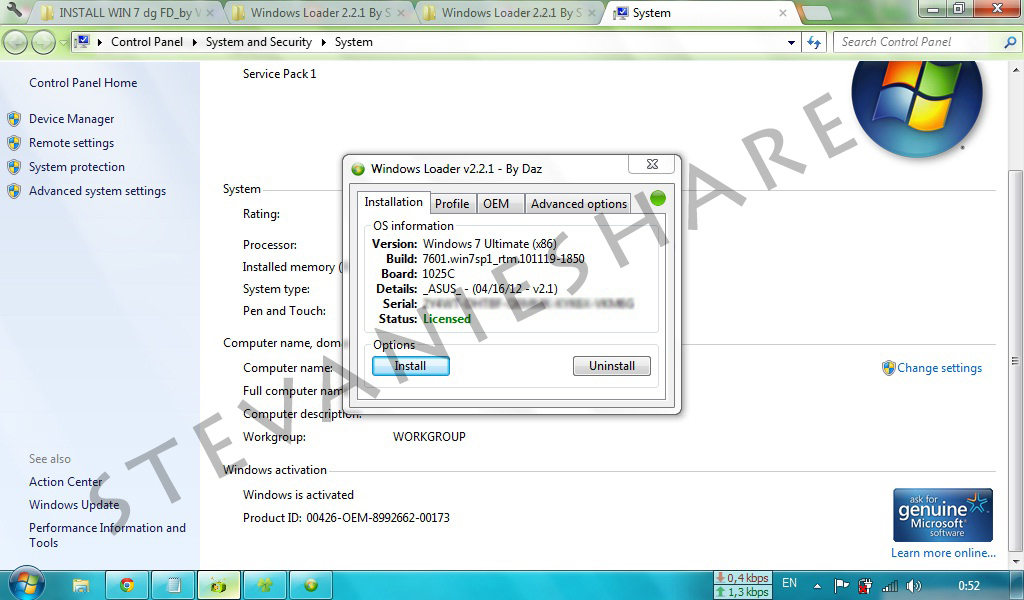 Windows 7 loader activator v2.2.1 reloaded daz team rjaa