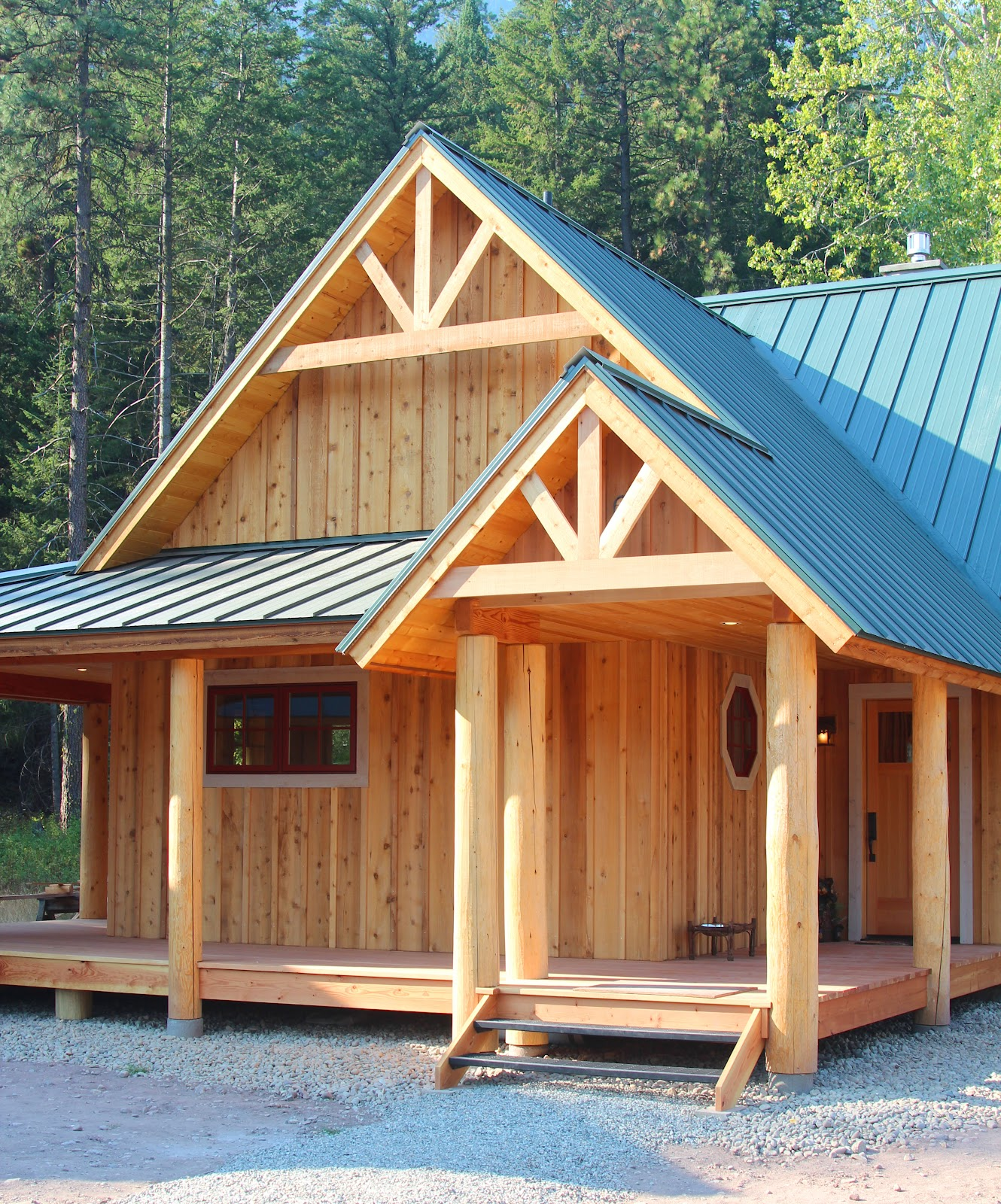 The cabin and garage is the gable trim installed to soften the garage
