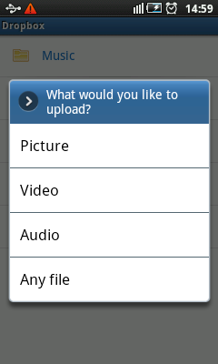 Android Dropbox Sync - Upload