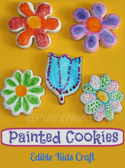 Kid Painted Cookies For Mother's Day Spring Flower