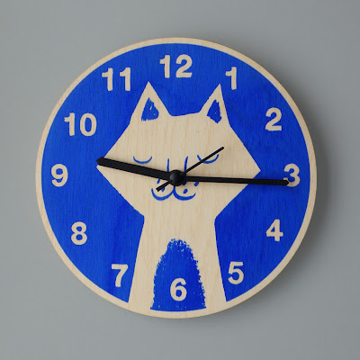 Silk-Screened Laser-cut Plywood Quartz Clock