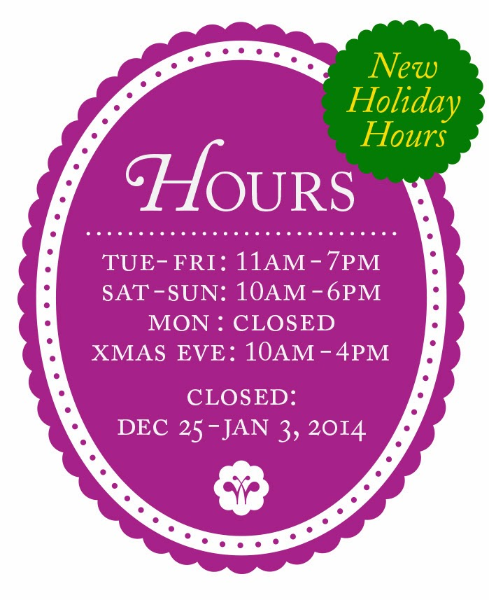 HOLIDAY SHOP HOURS