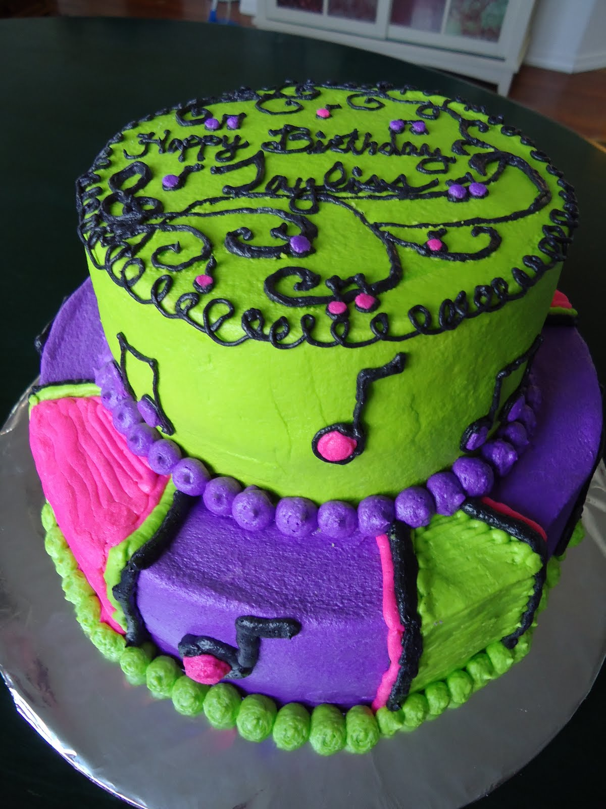 cat 39 s cake creations whimsical musical birthday cake neon colors. Black Bedroom Furniture Sets. Home Design Ideas