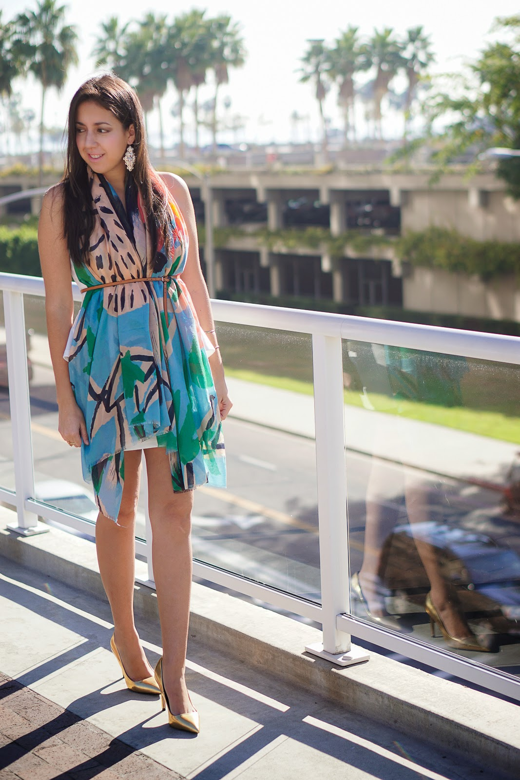 How to wear a scarf, Zara scarf, Watercolor scarf, Bright Colorful Scarf, Spring Style, Belted Scarf, White Dress, Foreign Exchange Dress, Thin leather Belt, Banana Republic Belt, Forever 21 Gold Earrings, Gold pumps, Zara heels, Zara gold heels, Spring 2015 Fashion Trend