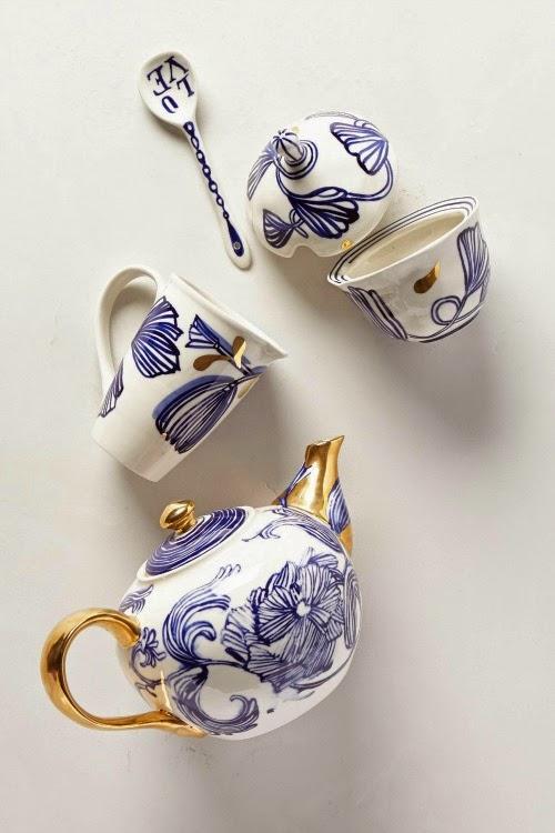 anthropologie serveware - blue white gold