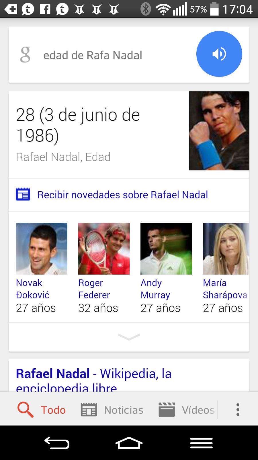 Comando de OK Google para saber el cumpleaños de un personaje público.