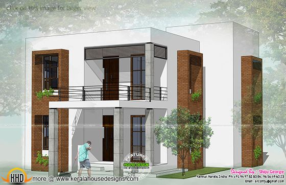 Flat roof house 2D drawing