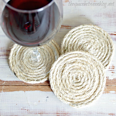 DIY Twine Coasters by The Space Between via Funky Junk Interiors