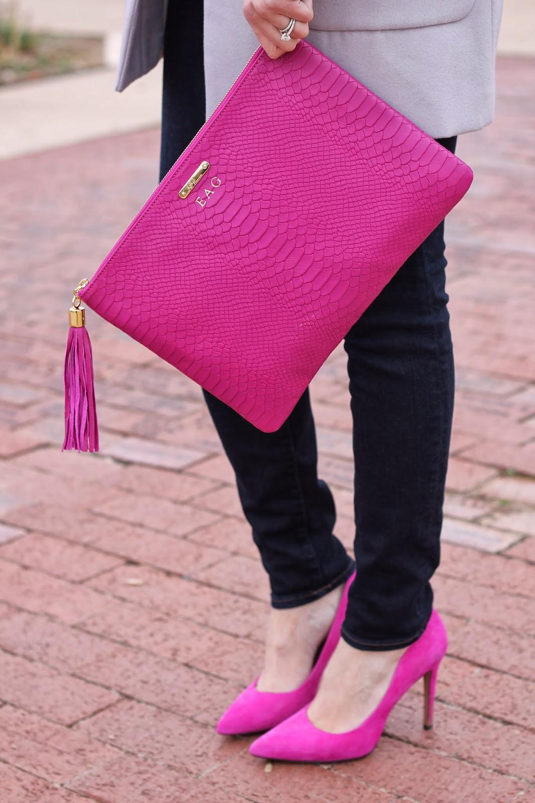 www.thesweetestthingblog.com, The Sweetest Thing Blog, Emily Gemma, Gigi New York clutch, Uber clutch in Magenta, gray sweater, jbrand jeans, jbrand denim, crystal necklace, jcrew necklace, jcrew inspired necklace, forever 21 sunglasses, mac lipstick, pinterest fashion, winter pinterest fashion, pinterest pink heels gray sweater, fuschia pumps, fuschia heels, gold michael kors watch, gigi new york bag