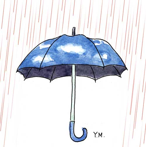 Rain and Umbrella by Yukié Matsushita