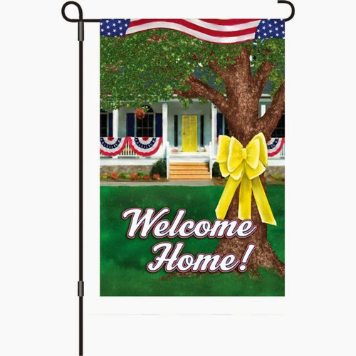 welcome home military garden flag