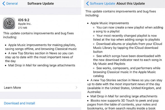 Apple Releases iOS 9.2