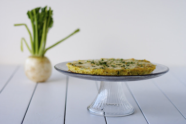 Turnip Frittata with Double Garlic