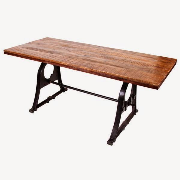 mesa pies de forja tablero madera rustico