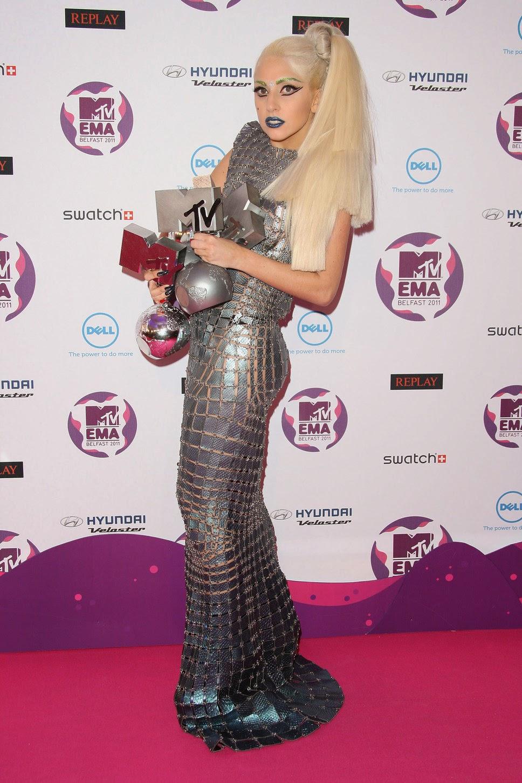 Lady Gaga Silver Reptail Dress