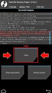 """Cara Mengatasi """"Failed"""" Pada Full Wipe/Wipe System Saat Flash Rom"""