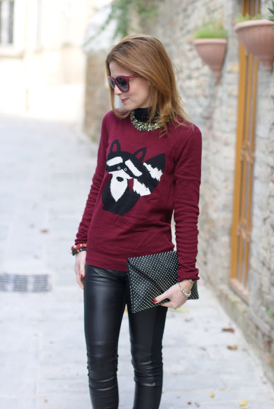 animal print sweater, raccoon sweater, Zara leggings, Iro shoes