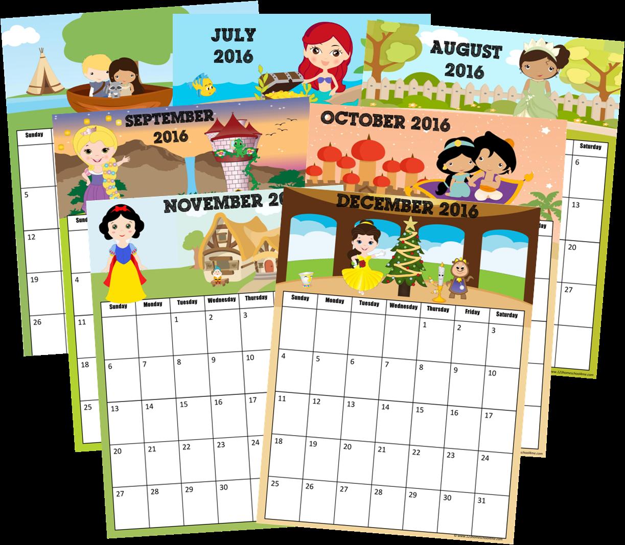 2016 Calendar (Disney Princess Inspired)