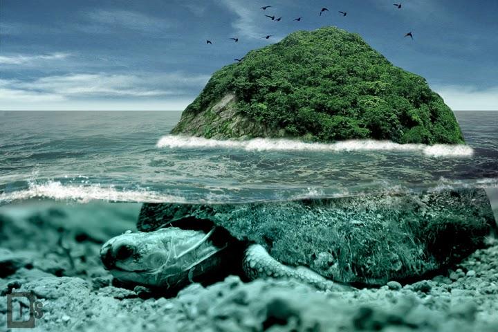 Manipulasi  kura-kura raksasa bawah laut di photoshop
