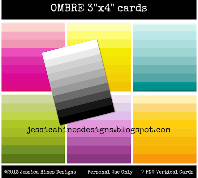 Jessica Hines Designs: Freebie digital Ombre colorful cards #ProjectLife