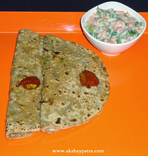 paratha in a serving plate