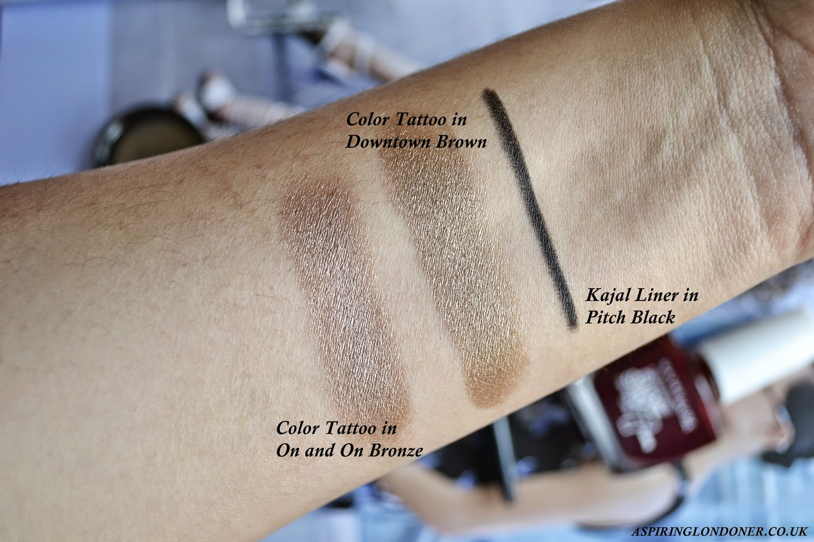 Maybelline Color Tattoo Eyeshadow Downtown Brown Swatch, Kajal Liner Pitch Black Swatch - Aspiring Londoner